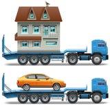Reboque do vetor com casa e carro Fotos de Stock