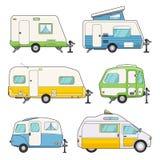 Reboques de acampamento ajustados Imagens de Stock Royalty Free