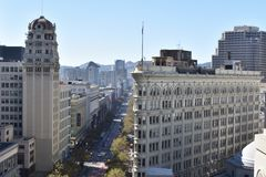 The reborn Phelan Building and one of the best Flat-Iron buildings, 2 . royalty free stock images