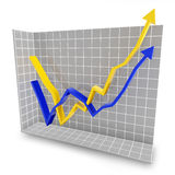 Rebound line graph Royalty Free Stock Images