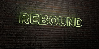 REBOUND -Realistic Neon Sign on Brick Wall background - 3D rendered royalty free stock image. Can be used for online banner ads and direct mailers Stock Photo