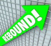 Rebound Word Green 3d Arrow Bounce Back Rising Improvement. Rebound word on a green 3d arrow to illustrate rising, improving or increasing and bouncing back to Royalty Free Stock Image