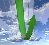 Rebounding arrows Green. CG image of arrows rebounding upwards after a steep decline led by the Green arrow Royalty Free Stock Image