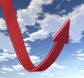Rebounding Red Arrow. CG image of red arrow rebounding upwards after a steep decline on a backdrop of blue sky Stock Images