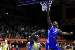 Rebounding Sancho Lyttle - basketball Royalty Free Stock Image