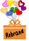 REBRAND on gift box with multicoloured hearts Stock Images