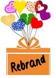 REBRAND sul contenitore di regalo con i cuori multicoloured Immagini Stock