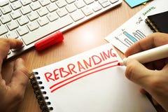Rebranding écrit dans une note image libre de droits