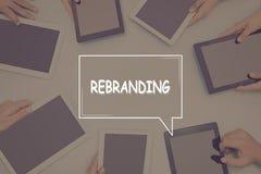 REBRANDING-BEGREPPSaffärsidé arkivfoto