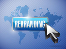 Rebranding button and cursor. Illustration design over a world map background Stock Images