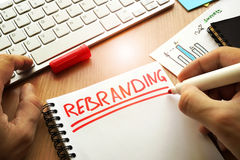 Rebranding written in a note. royalty free stock image