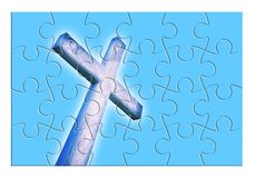 Rebuild or losing our faith - Christian cross concept image in jigsaw puzzle shape stock illustration