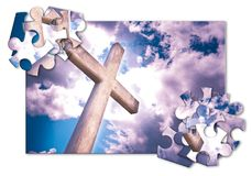Rebuild our faith or losing faith - Christian cross against a cl stock illustration