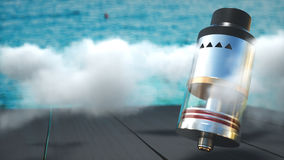 Rebuildable dripping atomizer in vape clouds. 3d render. Rebuildable dripping atomizer in vape clouds. 3d illustration stock photography