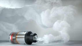 Rebuildable dripping atomizer in vape clouds. 3d render Royalty Free Stock Images