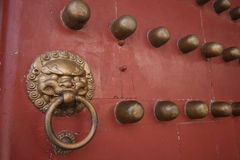 The rebuilded yuanming palace - red door Stock Photos