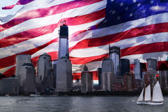 Rebuilding America world trade center. Did some photoshop with the American flag Stock Photography