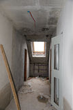 Rebuilding apartments. The room during renovation. Concrete interior. Development. Royalty Free Stock Images