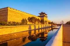 The rebuilding city wall and  gate tower of Datong. Stock Photography