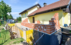 Rebuilding a family house and adding an extension. Stock Photo