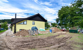 Rebuilding a house and adding an extension. Construction site Royalty Free Stock Photo