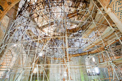Rebuilding of mosque Dome of Soltaniyeh with scaffolds holding the walls and columns Royalty Free Stock Photography