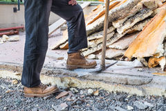 Rebuilding waterproofing and insulation of a terrace royalty free stock photography