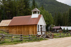 Rebuilt town hall in Ghost Town of St Elmo stock images