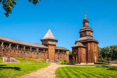 Rebuilt wooden church located inside of the Baturyn citadel Royalty Free Stock Photo