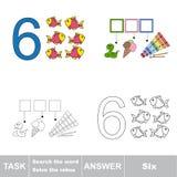 Rebus für Buchstaben 6 Stockfoto