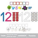 Rebus für Buchstaben zwölf Stockbilder