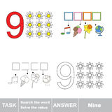 Rebus pour la lettre 9 Image stock