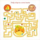 Rebusvektor Den roliga labyrinten med skeppet och piratkopierar cartoon Royaltyfria Bilder
