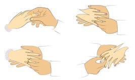 Recém-casados de Team Hands no casamento Um homem põe sobre uma aliança de casamento da menina s Jogo da ilustra??o do vetor ilustração stock