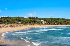Rec del Moli beach in La Escala, Spain. A view of the Rec del Moli beach in La Escala, in the Costa Brava, Spain Royalty Free Stock Photo