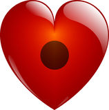 Rec. Glassy Heart. Rec. Glassy Red Heart Button on White. Isolated with Clipping Path Royalty Free Stock Photos