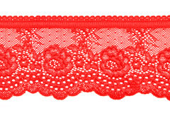 Rec lace. Red lace with pattern in the manner of flower on white background Royalty Free Stock Photos