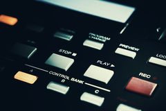 Rec And Play Buttons on Midi Controller. Stop, play and rec buttons of a modern midi controller Stock Image