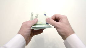 recalculation of euro hands stock footage