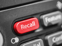 Recall button of office telephone. Recall concept Stock Photo