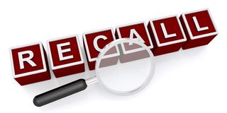 Recall graphic. Red and white 3D blocks spelling recall with magnifying glass on white Stock Photo