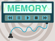 Recall. The word memory with a pause, play, stop, backward, and forward controls Royalty Free Stock Photos