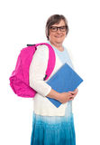 Recalling old school days. Senior woman posing with bag and notebook stock image