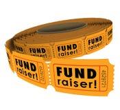 Recaudador de fondos 50 evento de la caridad del rollo del boleto de cincuenta rifas que aumenta lunes Imágenes de archivo libres de regalías