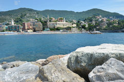Recco. Liguria. Sea and beach in Northern Italy, Cinque Terre, UNESCO SITE and Natural Reserve Royalty Free Stock Photography