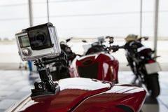 Reccorder della camma della macchina fotografica sul motociclo Immagine Stock Libera da Diritti