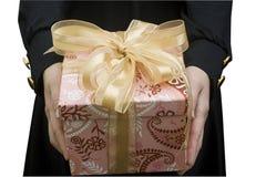 Recebendo um presente, Natal feliz! imagens de stock