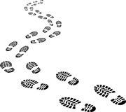Receding footprints Royalty Free Stock Photos
