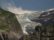 Receding Glacier in Grindelwal. A view of the main glacier in Grindelwald, Switzerland.  This view taken in 2006 shows the melting of this once large glacier Royalty Free Stock Images