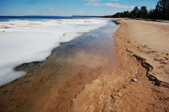 Receding Ice. Along the beach in Lake Superior Royalty Free Stock Photo
